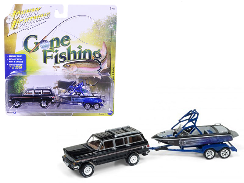 1981 Jeep Wagoneer Midnight Blue with Boat & Trailer 'Gone Fishing' Limited to 2508pc 1/64 Diecast Model Car by Johnny Lightning - BeTovi&co