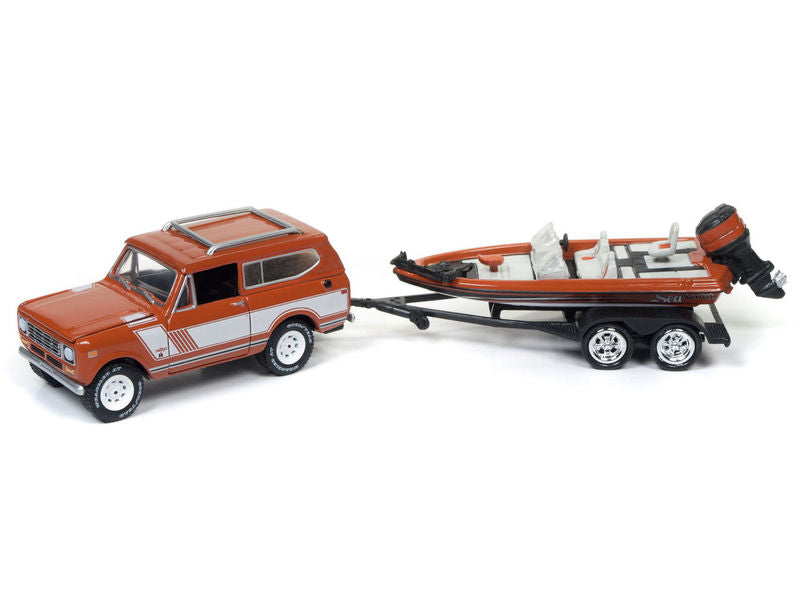 1979 International Scout Persimmon with Bass Boat 'Gone Fishing' 1/64 Diecast Model Car by Johnny Lightning - BeTovi&co