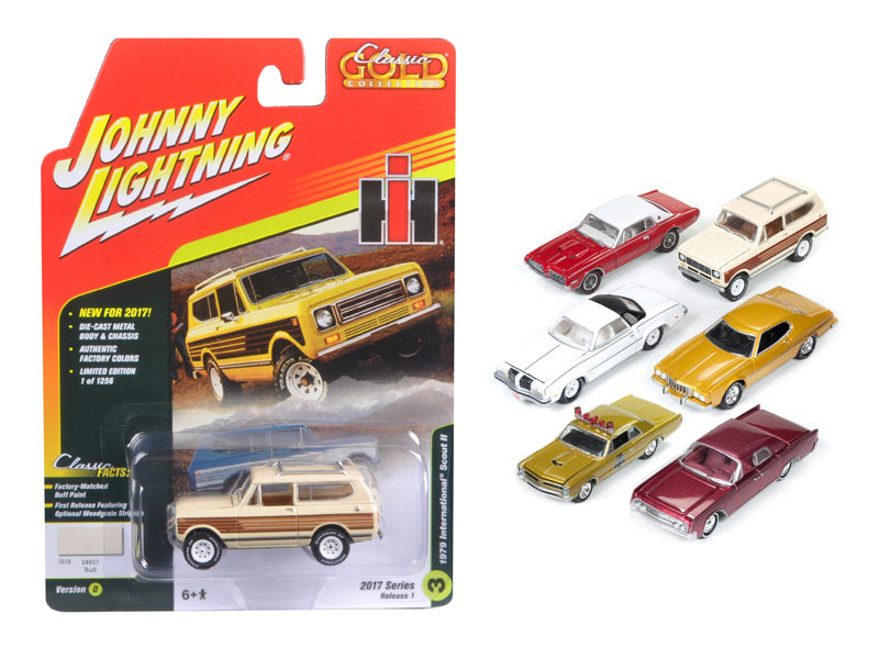 Classic Gold 2017 Set of 6 cars Release D 1/64 Diecast Model Cars by Johnny Lightning - BeTovi&co