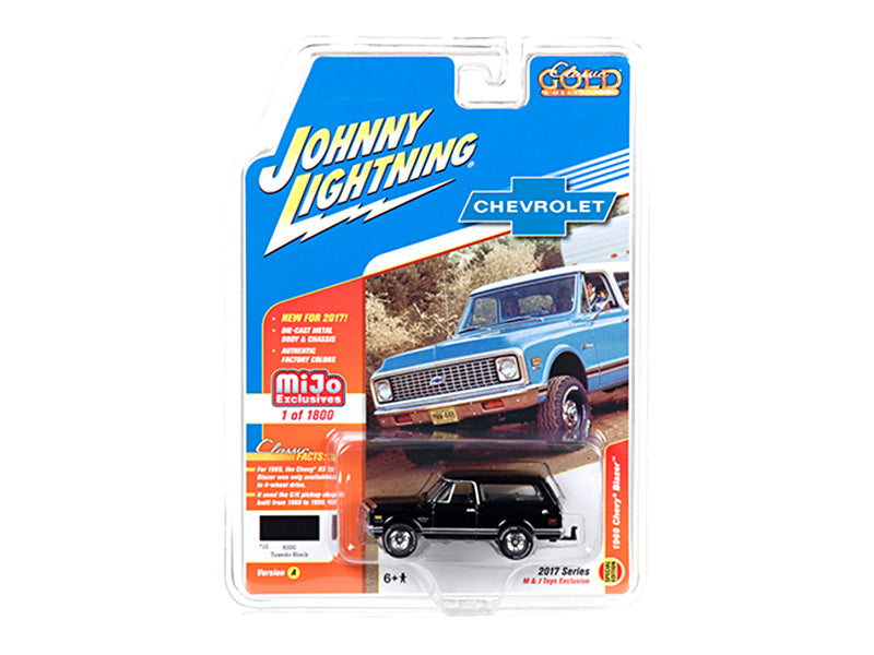 1969 Chevrolet Blazer Black with Tow HItch 'Classic Gold' 1/64 Diecast Model Car by Johnny Lightning - BeTovi&co