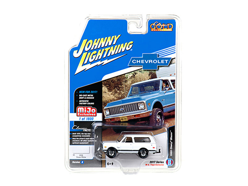 1969 Chevrolet Blazer White with Tow HItch 'Classic Gold' 1/64 Diecast Model Car by Johnny Lightning - BeTovi&co