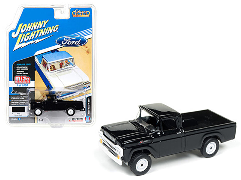 1959 Ford F-250 Pickup Truck Black 'Classic Gold' 1/64 Diecast Model Car by Johnny Lightning - BeTovi&co