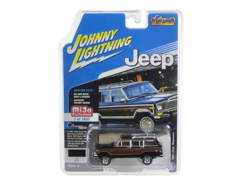 1981 Jeep Wagoneer Black 'Classic Gold' 1/64 Diecast Model Car by Johnny Lightning - BeTovi&co