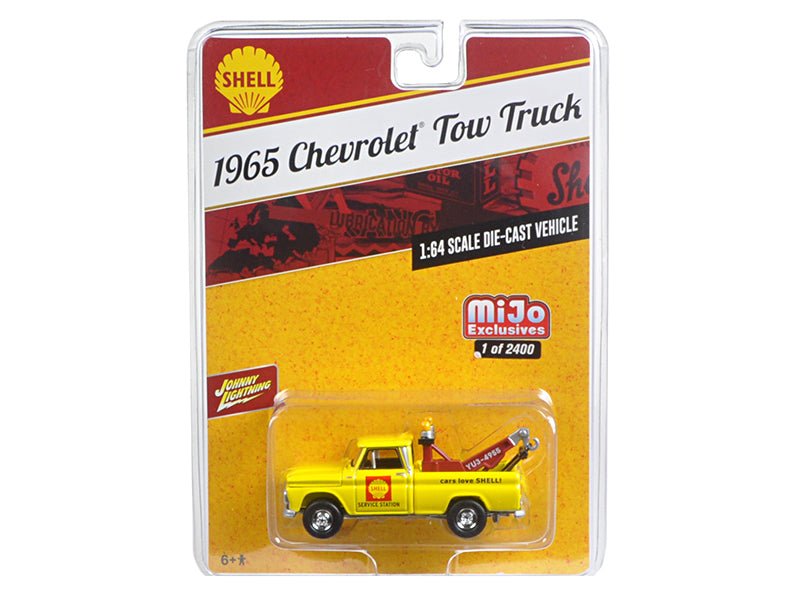 1965 Chevrolet Tow Truck 'Shell' Yellow 1/64 Diecast Model Car by Johnny Lightning - BeTovi&co