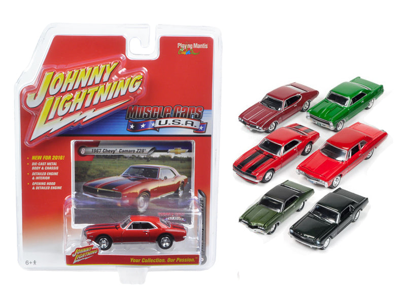Muscle Cars USA Set of 6 cars 1/64 Diecast Model Cars by Johnny Lightning - BeTovi&co