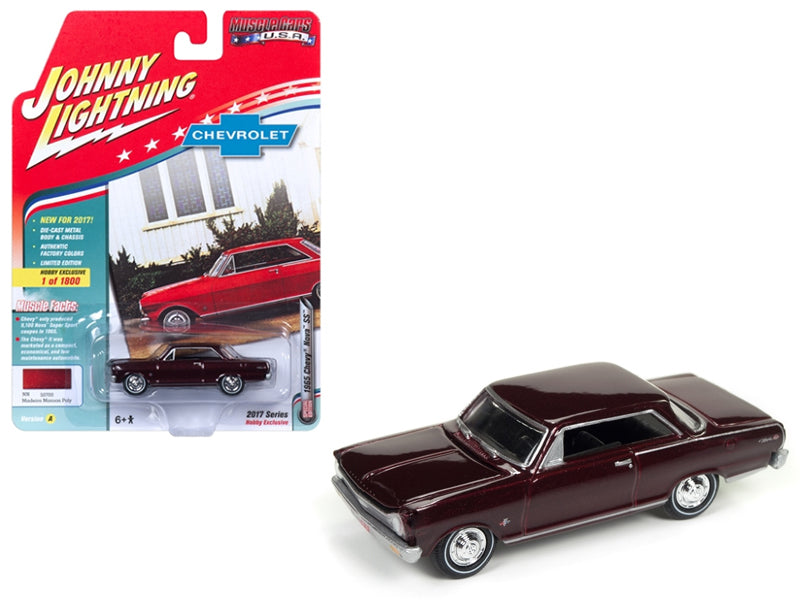 1965 Chevrolet Nova SS Madeira Maroon Poly Limited Edition to 1800pc Worldwide Hobby Exclusive 'Muscle Cars USA' 1/64 Diecast Model Car by Johnny Lightning - BeTovi&co