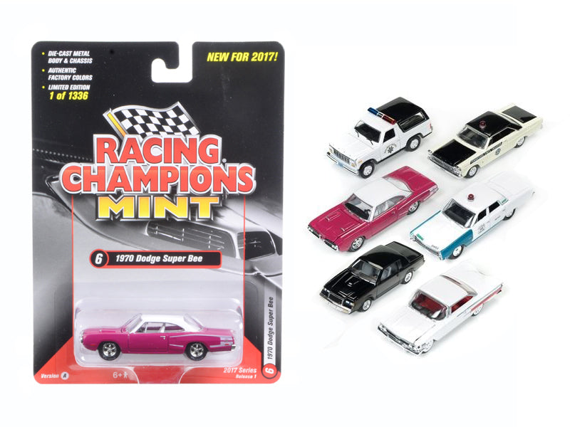 Mint Release 2017 Set A Set of 6 cars 1/64 Diecast Model Cars by Racing Champions - BeTovi&co