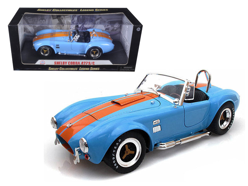 1965 Shelby Cobra 427 S/C Blue With Orange Stripes 1/18 Diecast Model Car by Shelby Collectibles - BeTovi&co