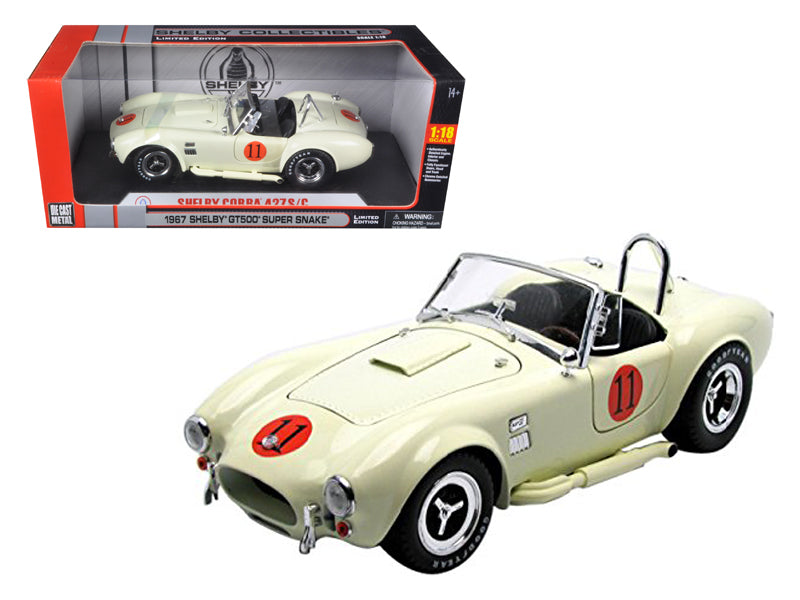 1965 Shelby Cobra 427 SC Cream #11 Limited Edition 1/18 Diecast Model Car by Shelby Collectibles - BeTovi&co
