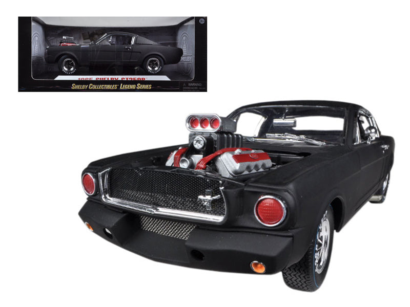 1965 Ford Shelby Mustang GT350R With Racing Engine Matt Black 1/18 Diecast Car Model by Shelby Collectibles - BeTovi&co