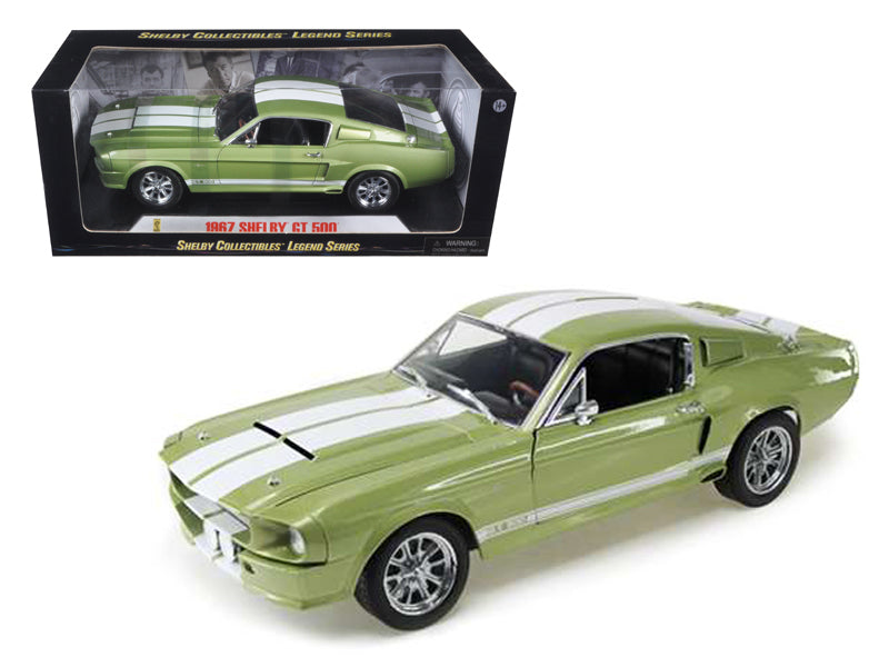 1967 Ford Shelby Mustang GT 500 Green With White Stripes 1/18 Diecast Model Car by Shelby Collectibles - BeTovi&co