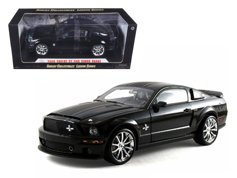 2008 Ford Shelby Mustang GT 500 Super Snake Black 1/18 Diecast Model Car by Shelby Collectibles - BeTovi&co