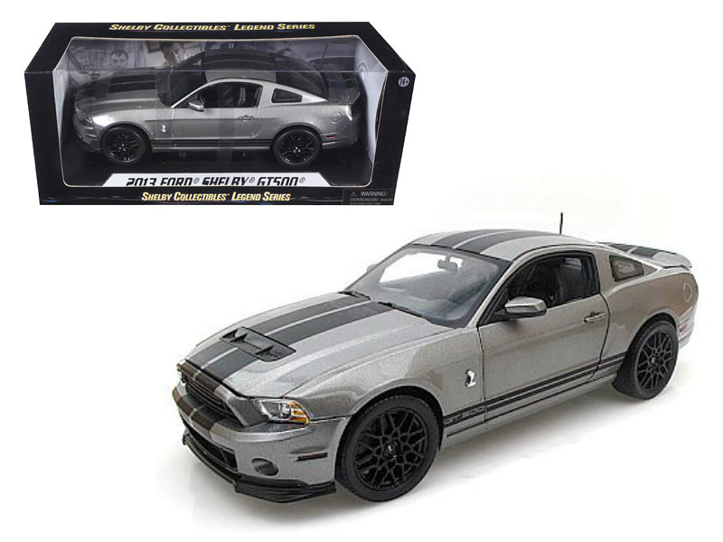 2013 Ford Shelby Mustang Cobra GT500 Grey With Black Stripes 1/18 Diecast Model Car by Shelby Collectibles - BeTovi&co