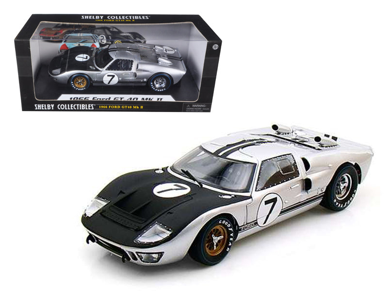 1966 Ford GT-40 MK 2 Silver #7 1/18 Diecast Car Model by Shelby Collectibles - BeTovi&co
