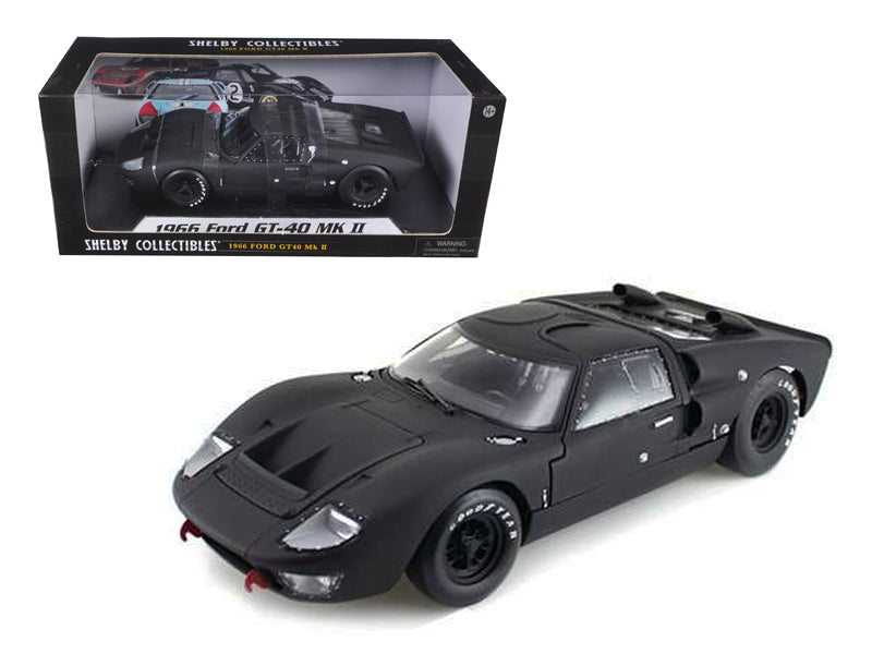 1966 Ford GT-40 GT40 MK 2 Matt Black 1/18 Diecast Car Model by Shelby Collectibles - BeTovi&co