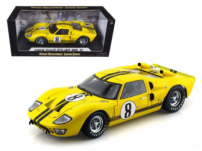 1966 Ford GT-40 MK 2 Yellow #8 1/18 Diecast Car Model by Shelby Collectibles - BeTovi&co