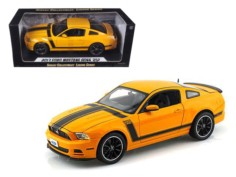 2013 Ford Mustang Boss 302 Yellow 1/18 Diecast Car Model by Shelby Collectibles - BeTovi&co