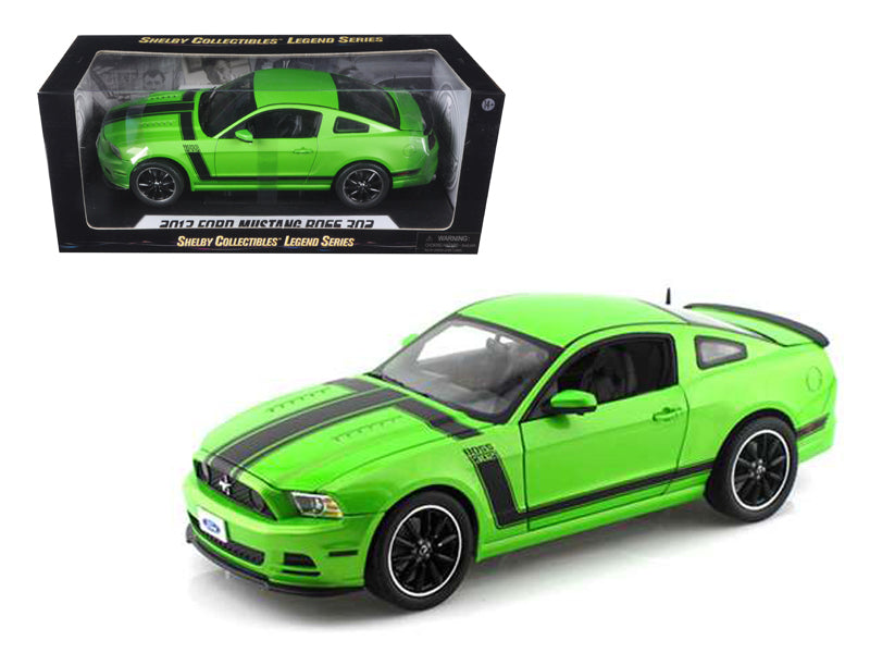 2013 Ford Mustang Boss 302 Green 1/18 Diecast Car Model by Shelby Collectibles - BeTovi&co