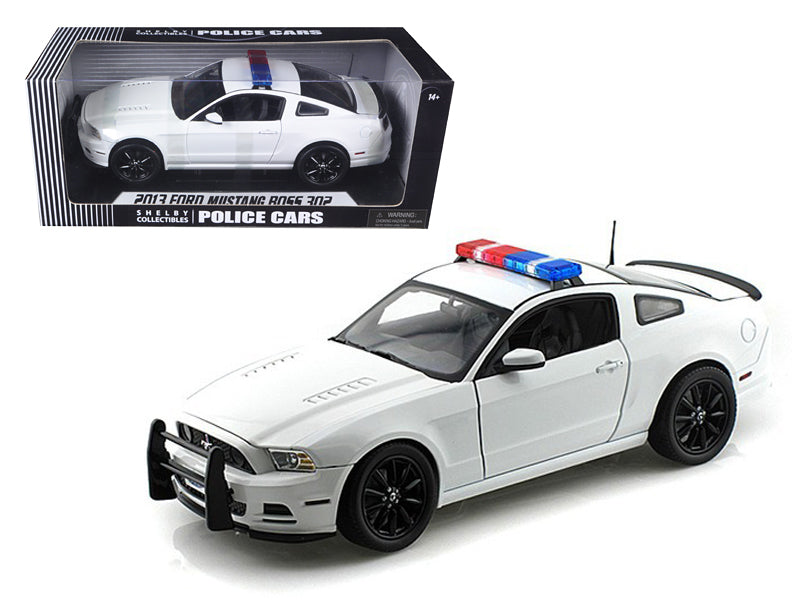 2013 Ford Mustang Boss 302 White Unmarked Police Car 1/18 Diecast Car Model by Shelby Collectibles - BeTovi&co