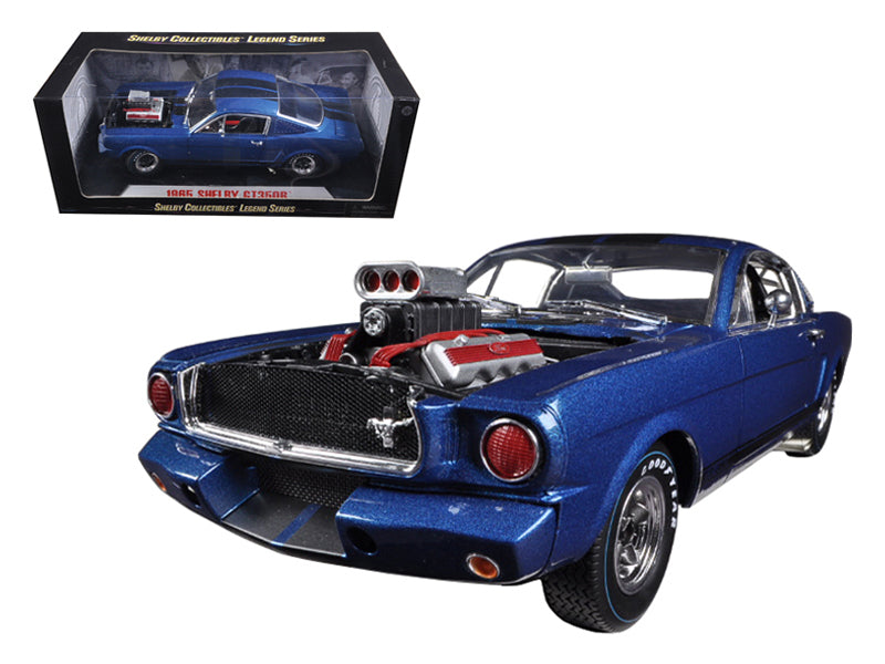 1965 Ford Shelby Mustang GT350R With Racing Engine Blue With Black Stripes 1/18 Diecast Car Model by Shelby Collectibles - BeTovi&co