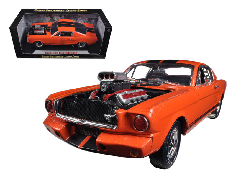 1965 Ford Shelby Mustang GT350R With Racing Engine Orange With Black Stripes 1/18 Diecast Car Model by Shelby Collectibles - BeTovi&co