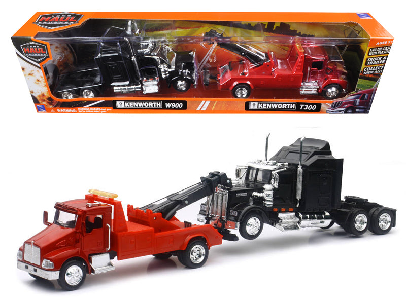 Kenworth T300 Tow Truck Red and Kenworth W900 Cab Black 1/43 by New Ray - BeTovi&co