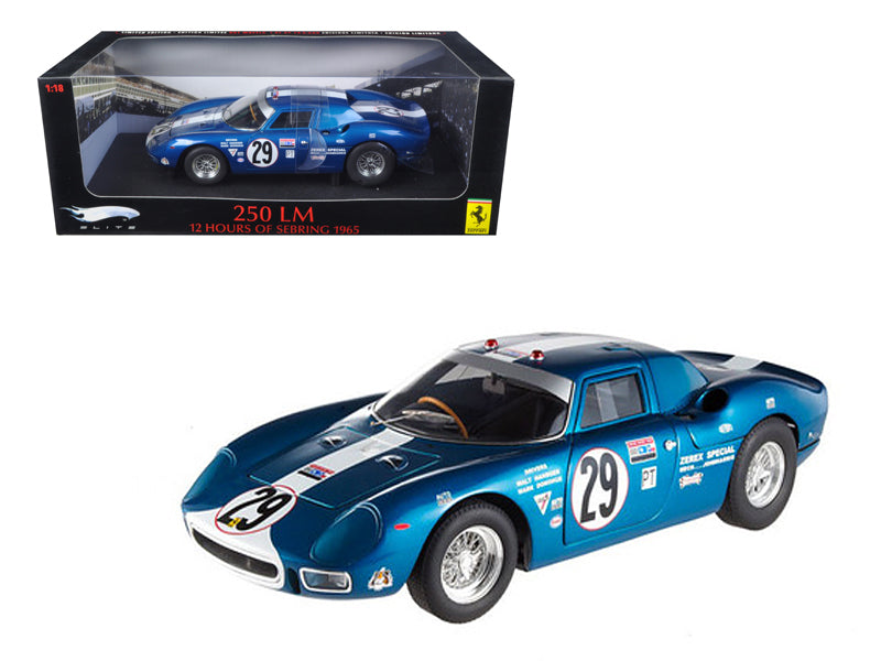 Ferrari 250 LM 12 Hours of Sebring 1965 #29 Elite Edition 1/18 Diecast Car Model by Hotwheels - BeTovi&co