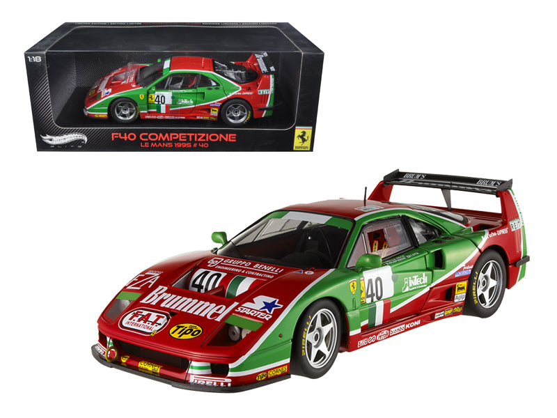 Ferrari F40 #40 Competizione 1995 Le Mans Elite Edition 1/18 Diecast Model Car by Hotwheels - BeTovi&co