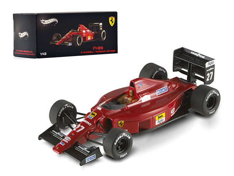Ferrari F1-89 #27 Nigel Mansell Hungary GP 1989 Elite Edition 1/43 Diecast Model Car by Hotwheels - BeTovi&co