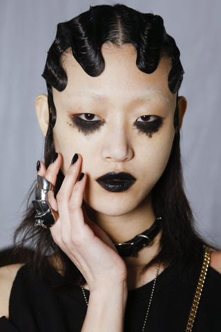 Marc Jacobs Coth Glam Beauty Black lipstick finger waves inspiration