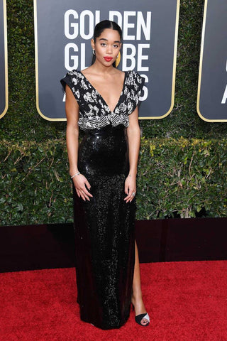 Best Dressed - Golden Globes - Slapp  App - Laura Harrier