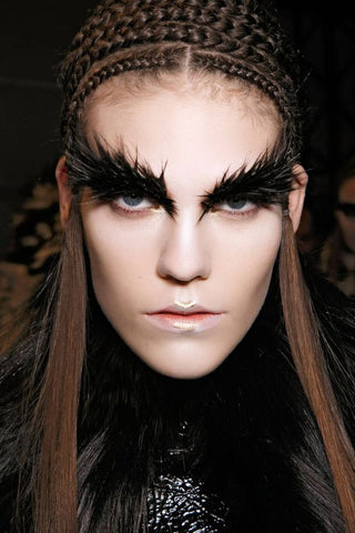 Alexander McQueen Bold Lashes eyebrows Black Swan Editorial Makeup