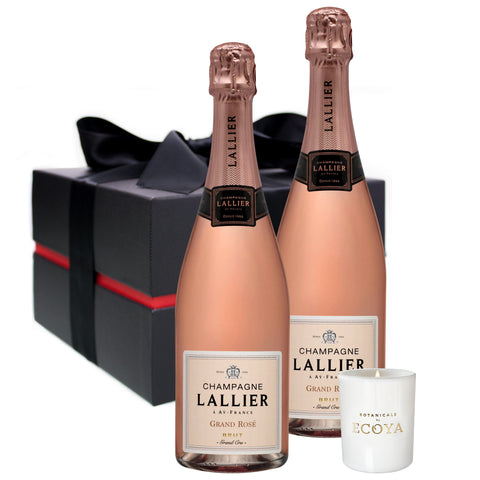 Champagne Lallier Grand Cru Rose 750ml Duo & Candle