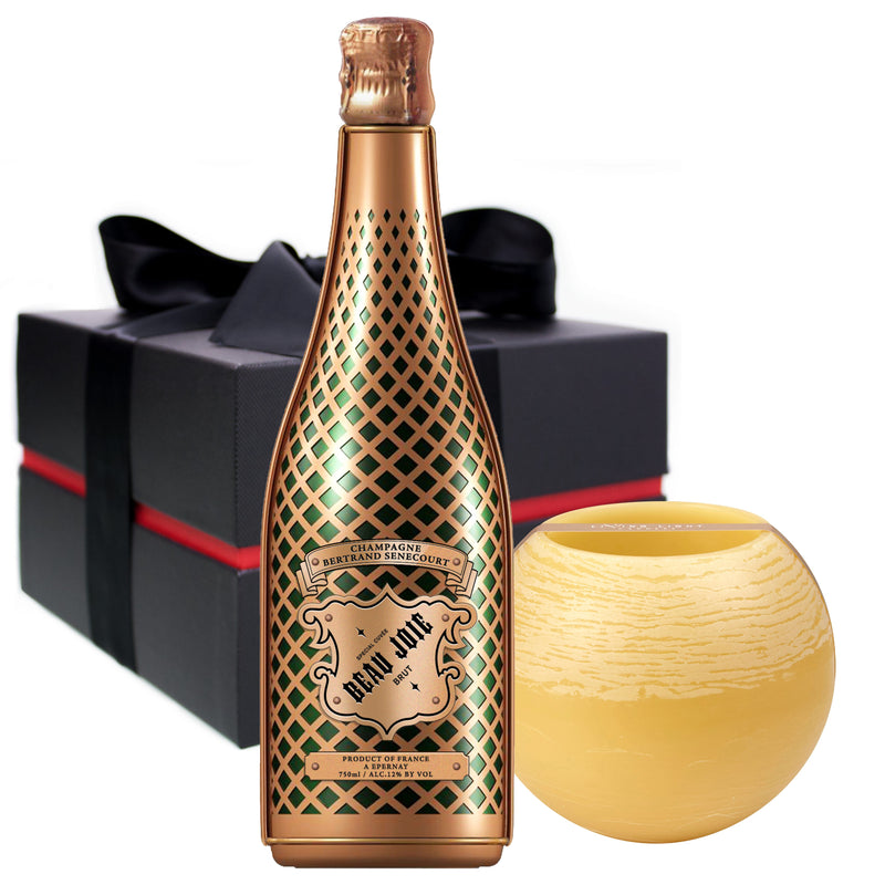 Beau Joie Champagne Brut 750ml & Living Light Candle