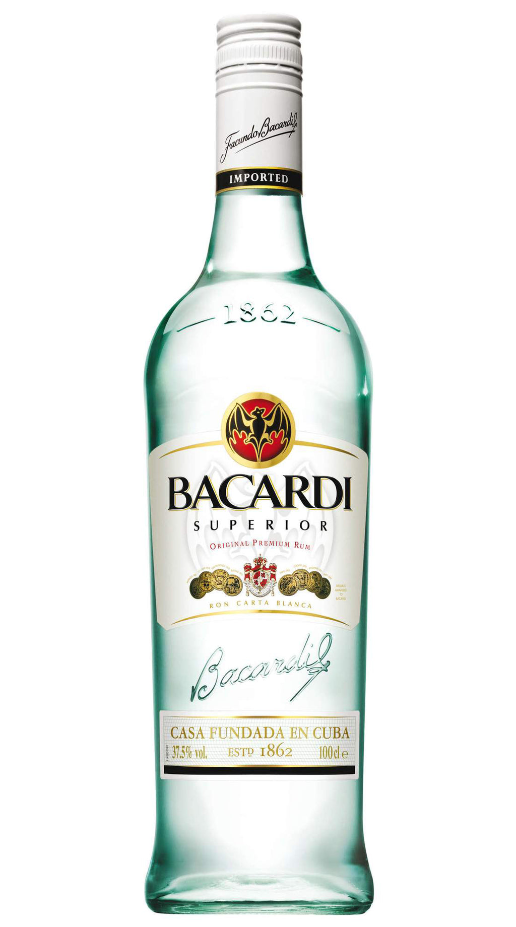 Bacardi White Rum 37.5% 1000ml