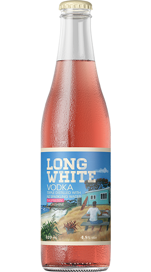 Long White Vodka (Raspberry) 320ml Bottles x 10 Pack