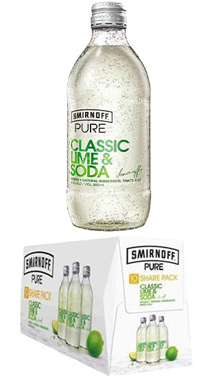 Smirnoff Pure Classic Lime & Soda Bottles 300ml - 10 PACK