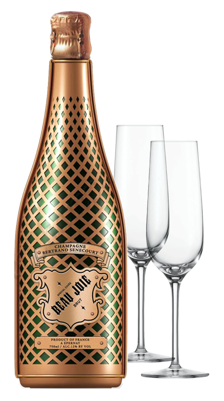 Beau Joie Champagne Brut 750ml & Flutes : GIFT PACK