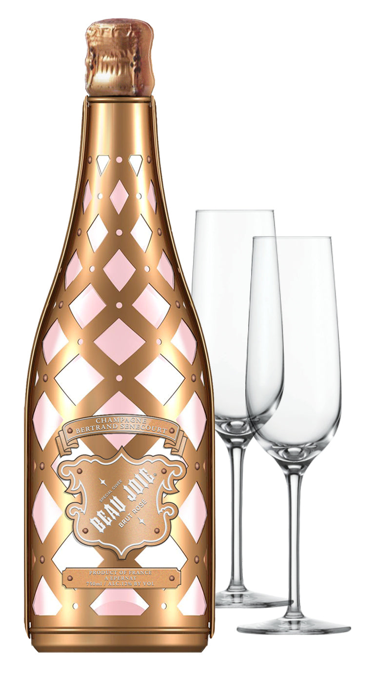 Beau Joie Champagne Rose 750ml & Flutes : GIFT PACK