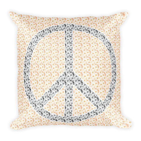 "Yellow Floral Peace 18"" x 18"" Square Pillow"