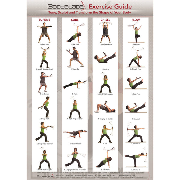 Bodyblade® 20in. x 28in. Super 6, Core, Chisel, Flow Exercise Wall Chart