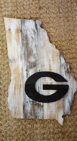 State of Georgia handmade with reclaimed wood