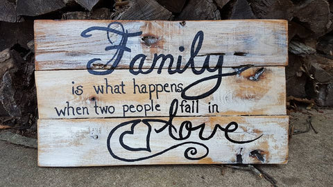 Hand-painted Family sign made with reclaimed wood