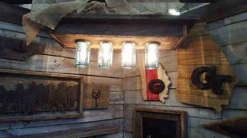 Mason jar light fixture made with 111 year-old barnwood