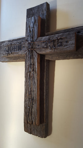 Cross with barbed wire and verse made with 111 year-old barnwood