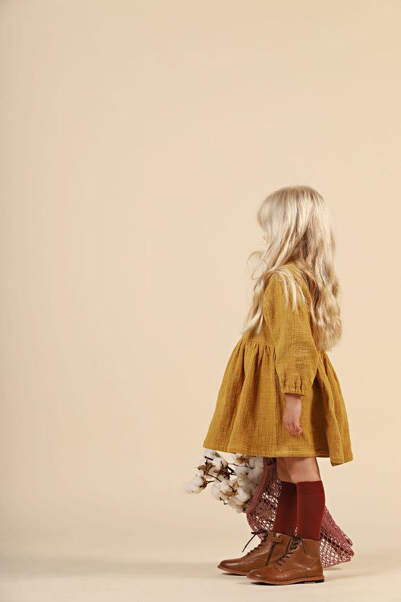 Textured Cotton Dress - Mustard
