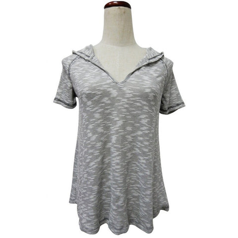 1036-Grey hooded knit top