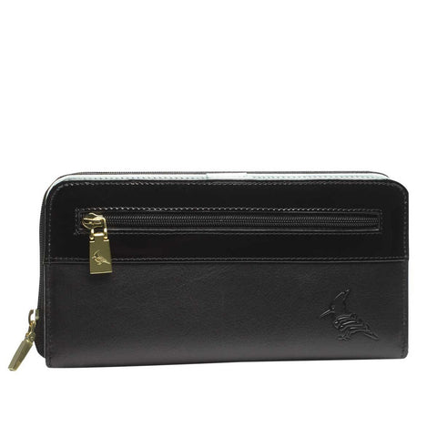 Black Leather Zip Wallet - Robin