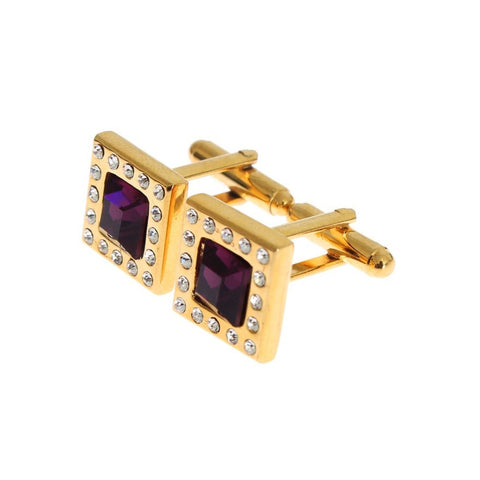 Dolce & Gabbana Clear Purple Crystal Gold Brass Cufflinks