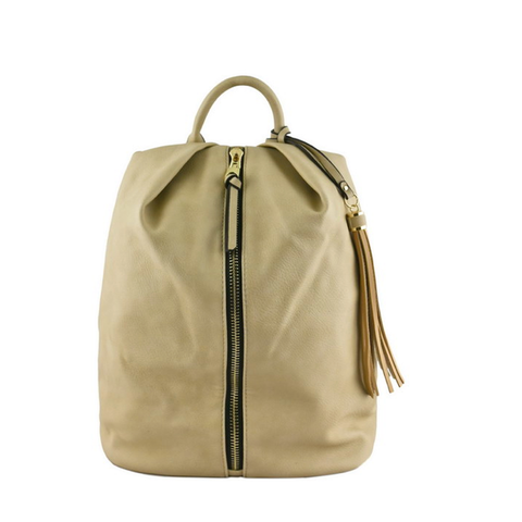 Beige Zipper and Tassel Backpack